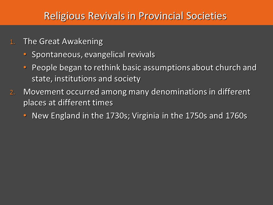 Religious Revivals in Provincial Societies