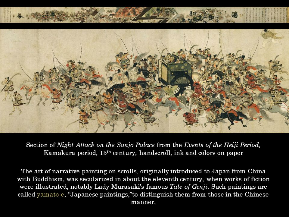 Section of Night Attack on the Sanjo Palace from the Events of the Heiji Period, Kamakura period, 13th century, handscroll, ink and colors on paper
