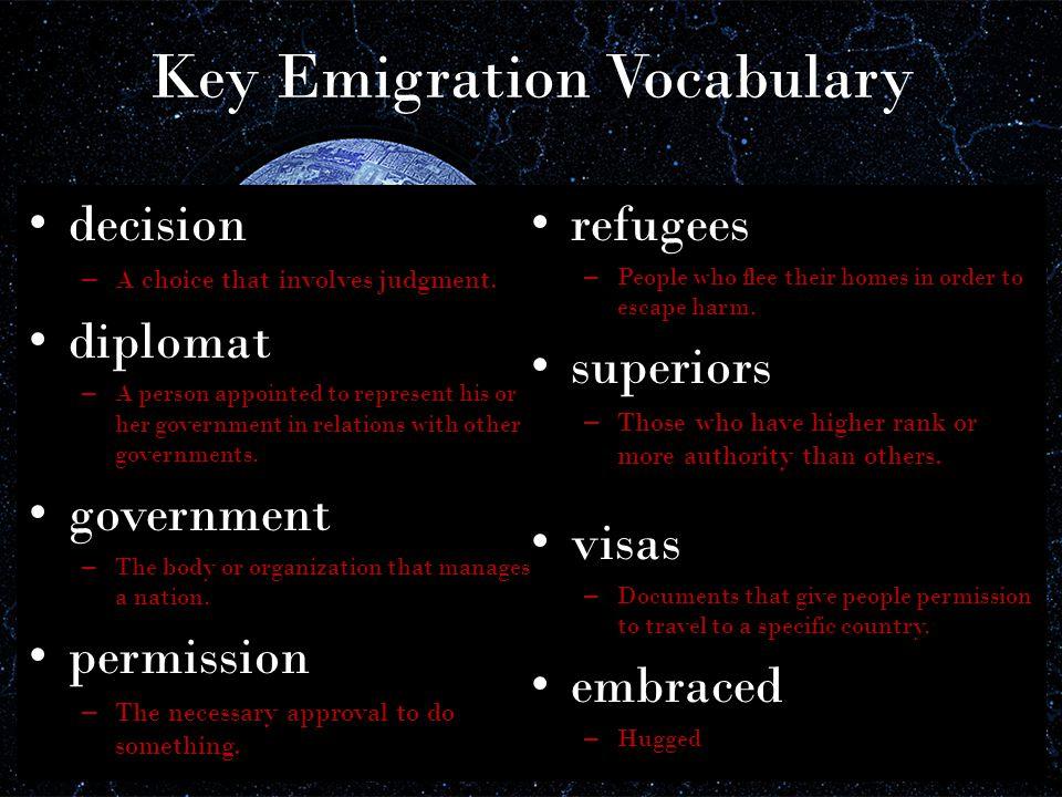 Key Emigration Vocabulary