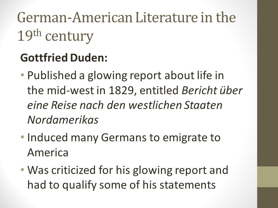 German-American Literature in the 19th century