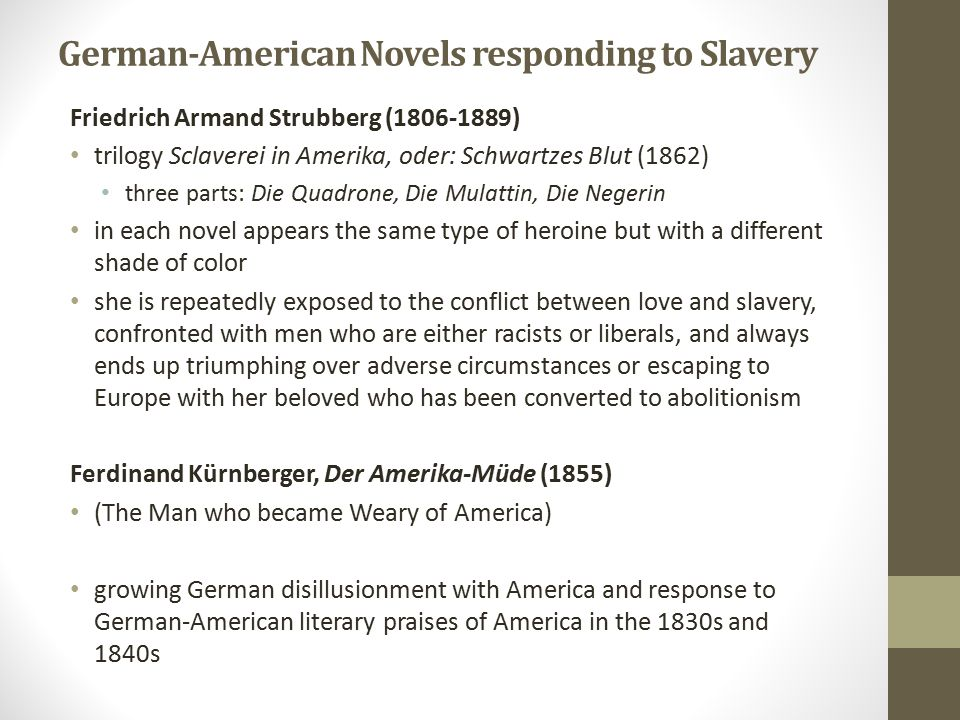German-American Novels responding to Slavery