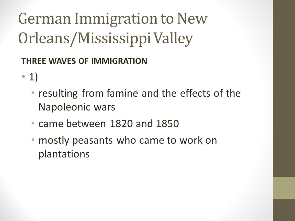 German Immigration to New Orleans/Mississippi Valley