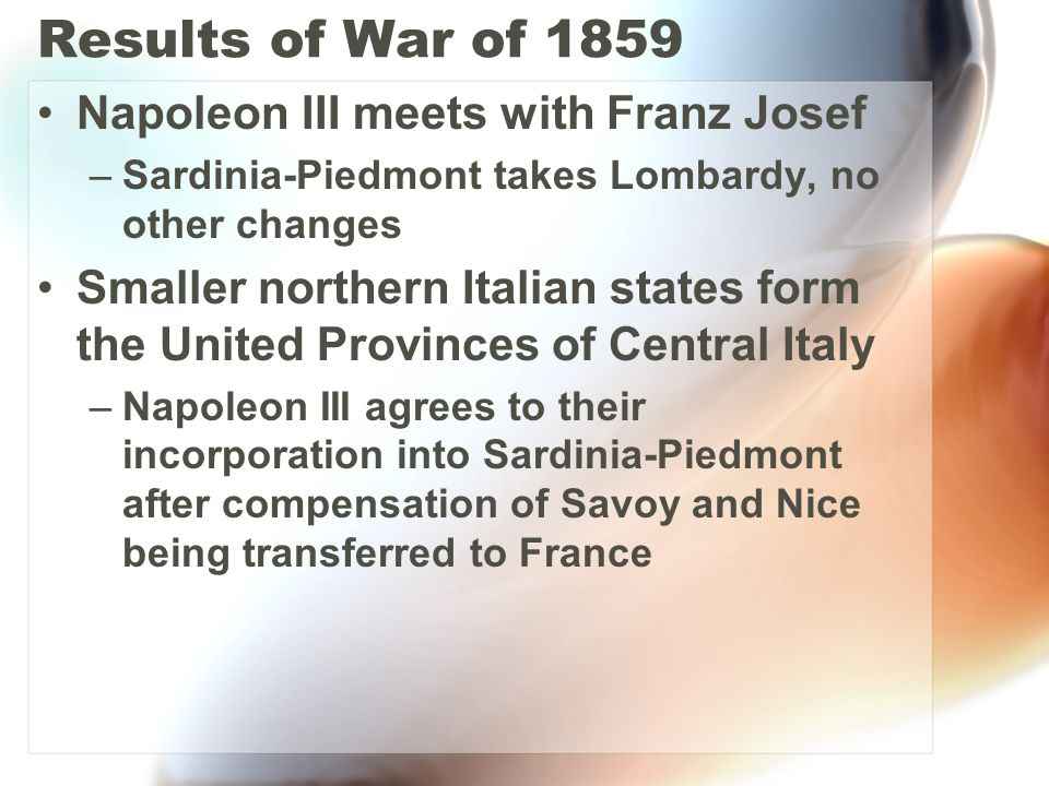 Results of War of 1859 Napoleon III meets with Franz Josef
