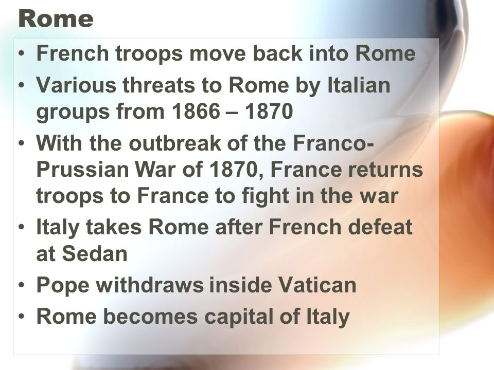 Rome French troops move back into Rome