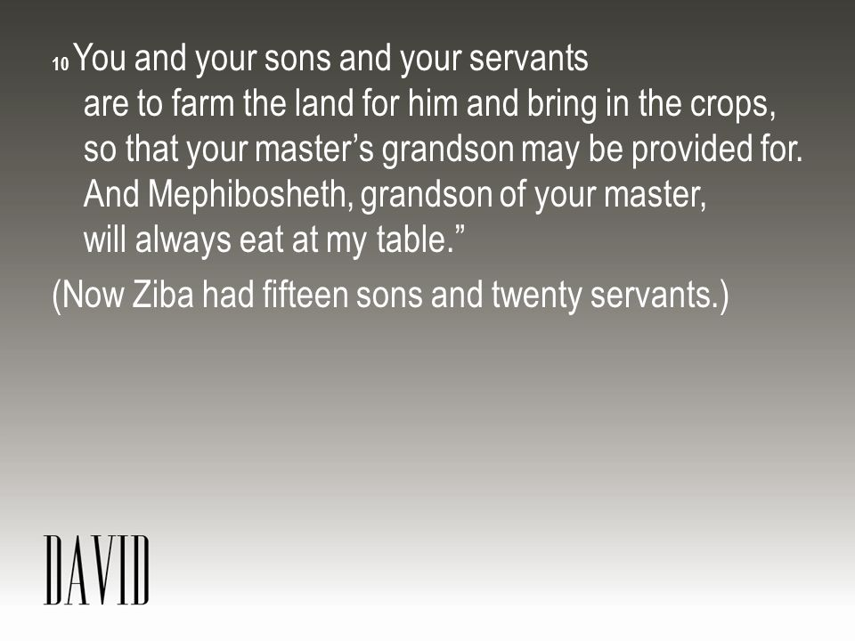 (Now Ziba had fifteen sons and twenty servants.)