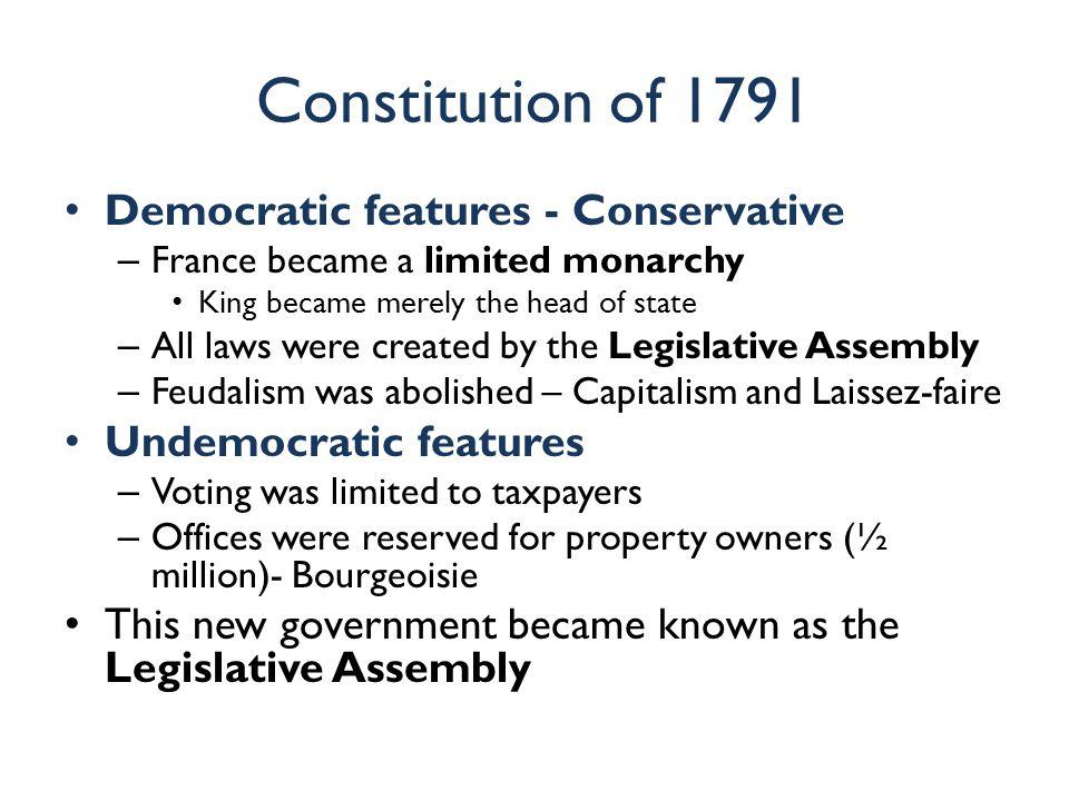 Constitution of 1791 Democratic features - Conservative