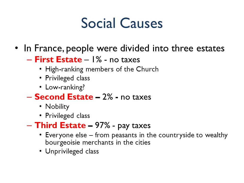 Social Causes In France, people were divided into three estates