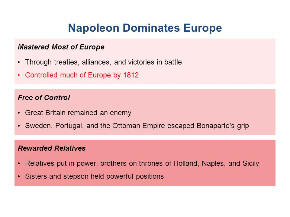 napoleons failure to dominate europe The first – and in the end only – emperor was napoleon, and at times he ruled vast swathes of the european continent: by 1810 it was easier to list the regions he didn't dominate: portugal, sicily, sardinian, montenegro, and the british, russian and ottoman empires however, while it's easy to think of the napoleonic empire as one.