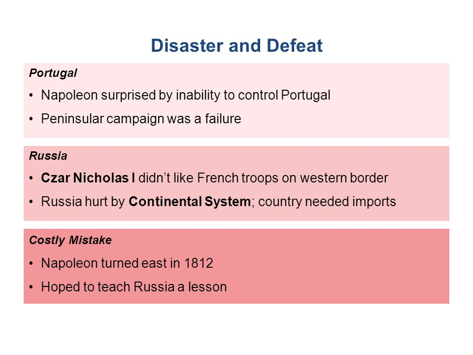 Disaster and Defeat Portugal. Napoleon surprised by inability to control Portugal. Peninsular campaign was a failure.