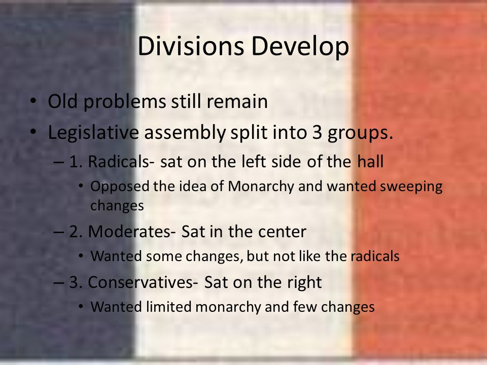 Divisions Develop Old problems still remain