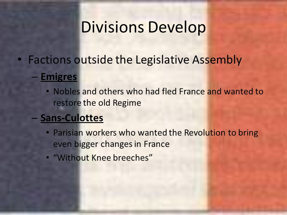 Divisions Develop Factions outside the Legislative Assembly Emigres