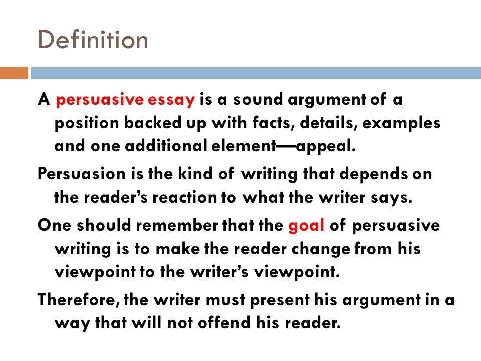 writing to persuade building an argument ppt  definition