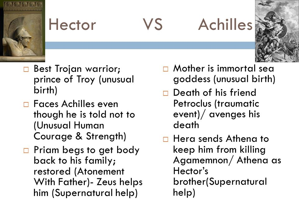 Hector VS Achilles Best Trojan warrior; prince of Troy (unusual birth)