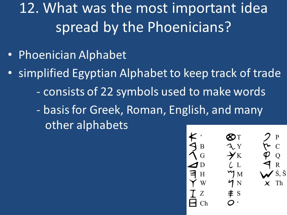12. What was the most important idea spread by the Phoenicians