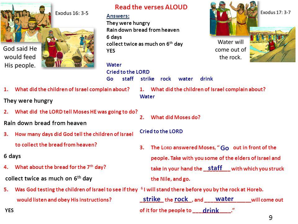 Read the verses ALOUD Go staff strike rock water drink 9