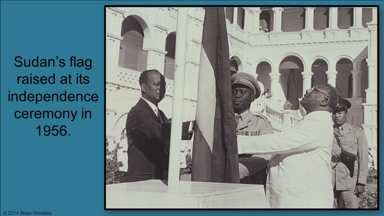 Sudan's flag raised at its independence ceremony in 1956.