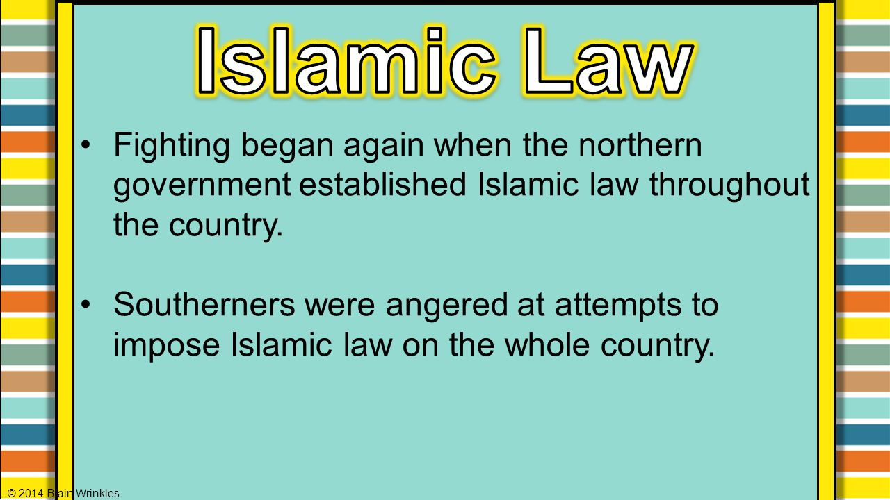 Islamic Law Fighting began again when the northern government established Islamic law throughout the country.