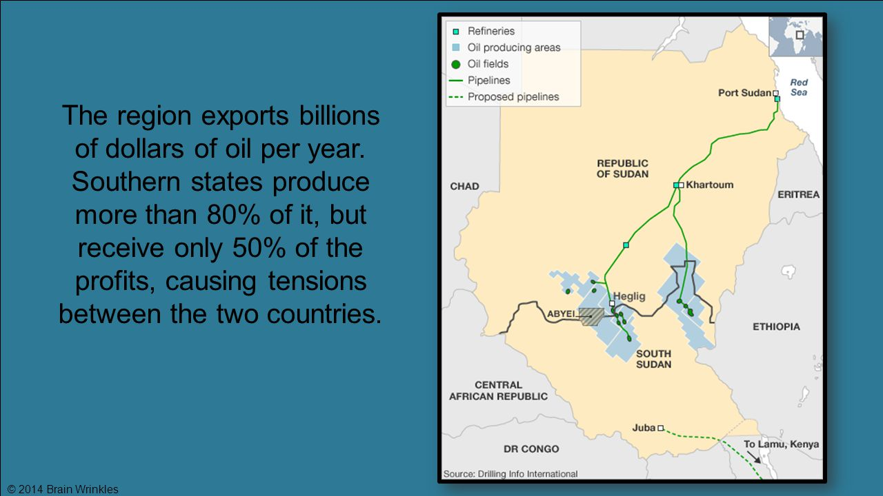 The region exports billions of dollars of oil per year.