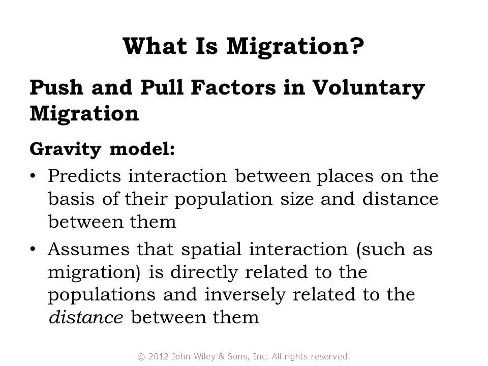 Push and Pull Factors in Voluntary Migration