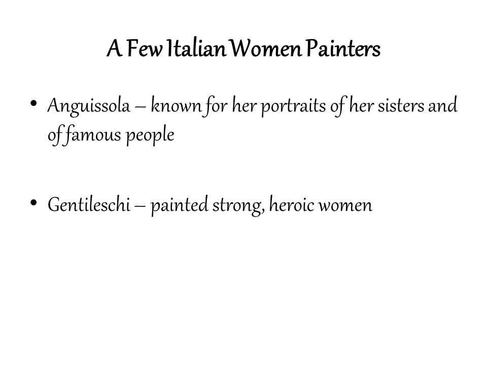A Few Italian Women Painters