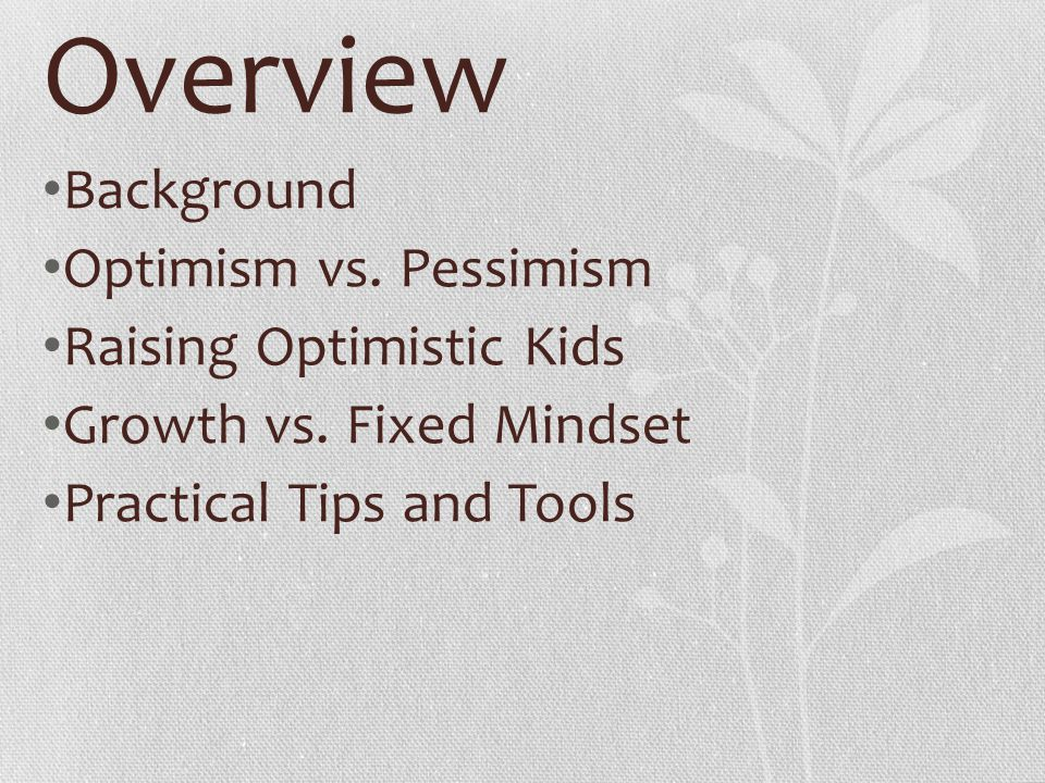 Overview Background Optimism vs. Pessimism Raising Optimistic Kids