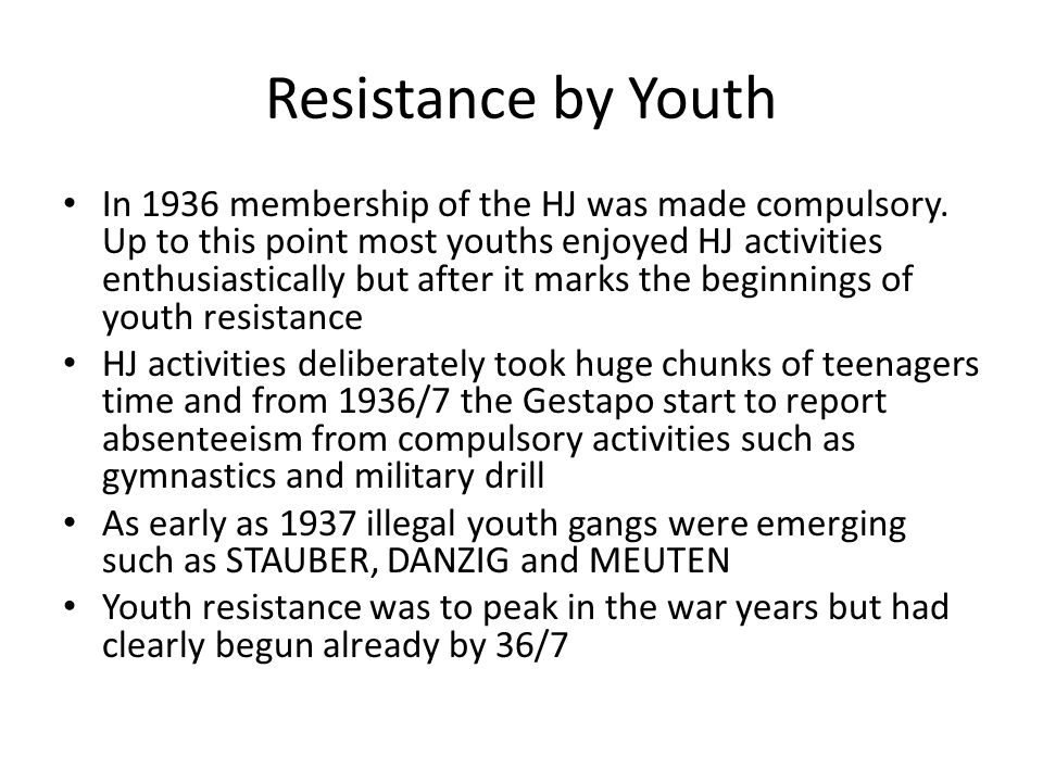 Resistance by Youth