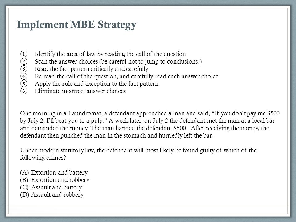 Implement MBE Strategy