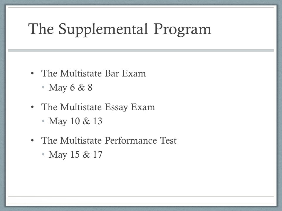 The Supplemental Program