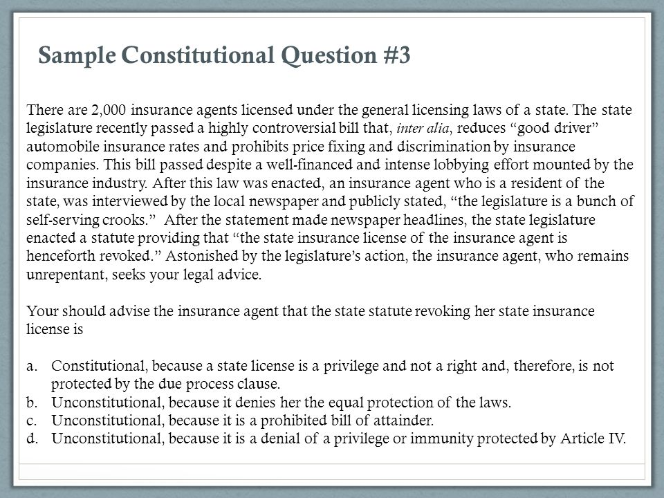 Sample Constitutional Question #3