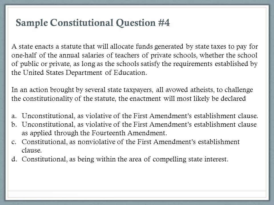 Sample Constitutional Question #4