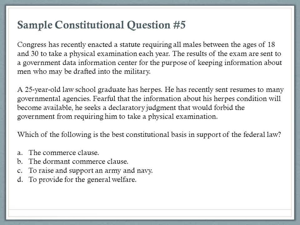 Sample Constitutional Question #5