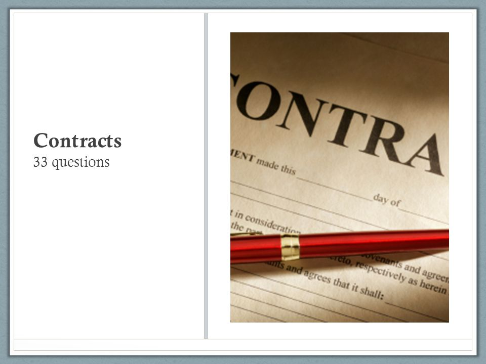 Contracts 33 questions
