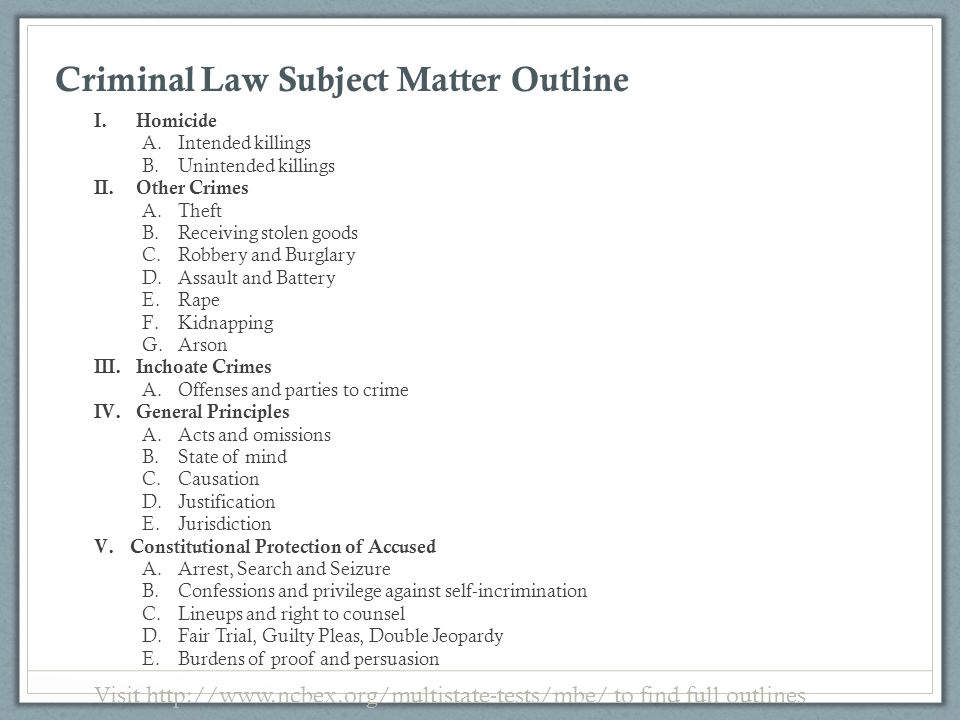 Criminal Law Subject Matter Outline
