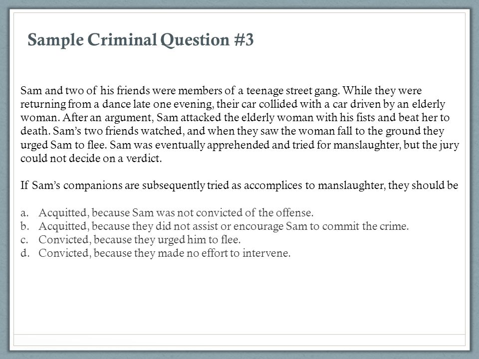 Sample Criminal Question #3