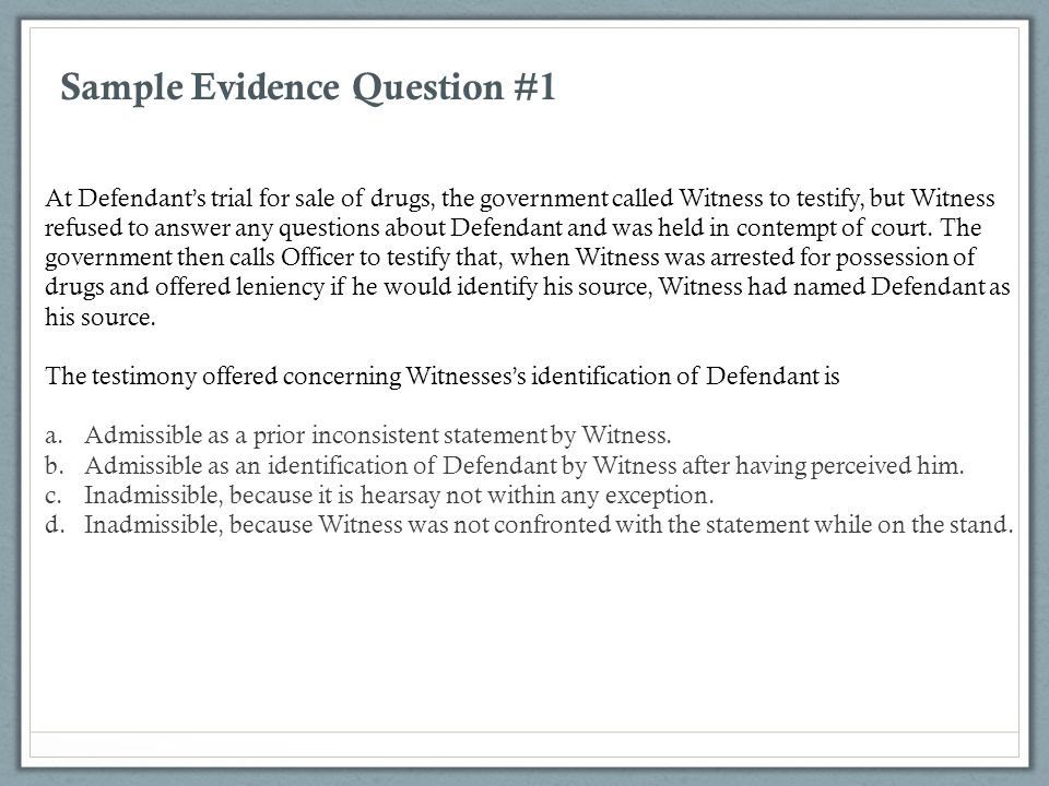 Sample Evidence Question #1