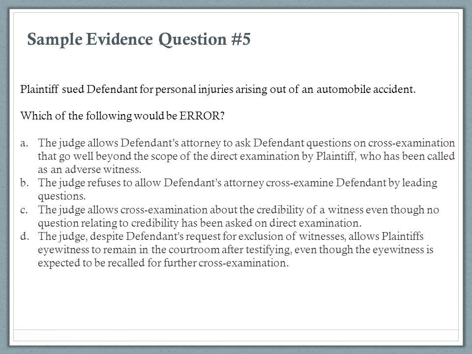 Sample Evidence Question #5