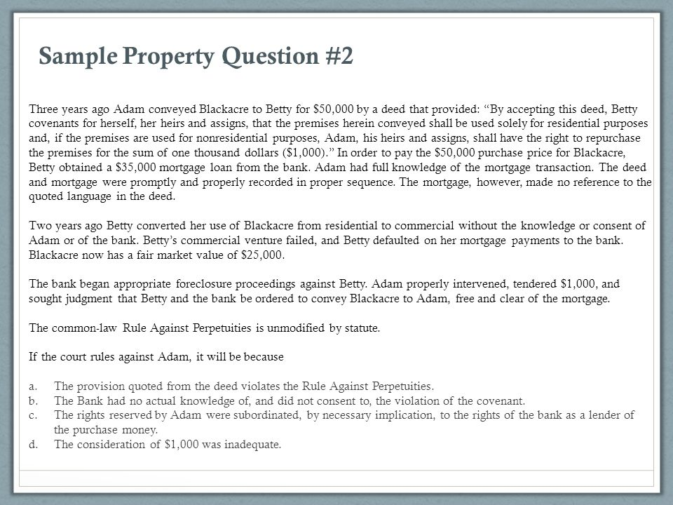 Sample Property Question #2