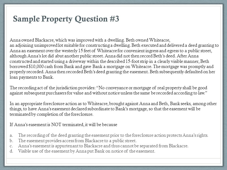 Sample Property Question #3