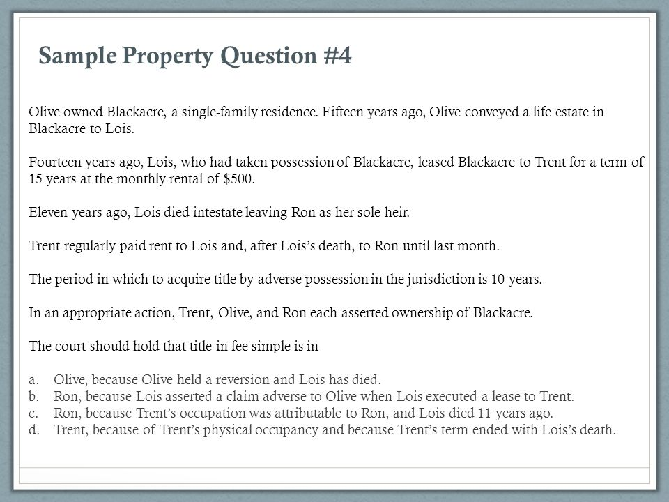 Sample Property Question #4