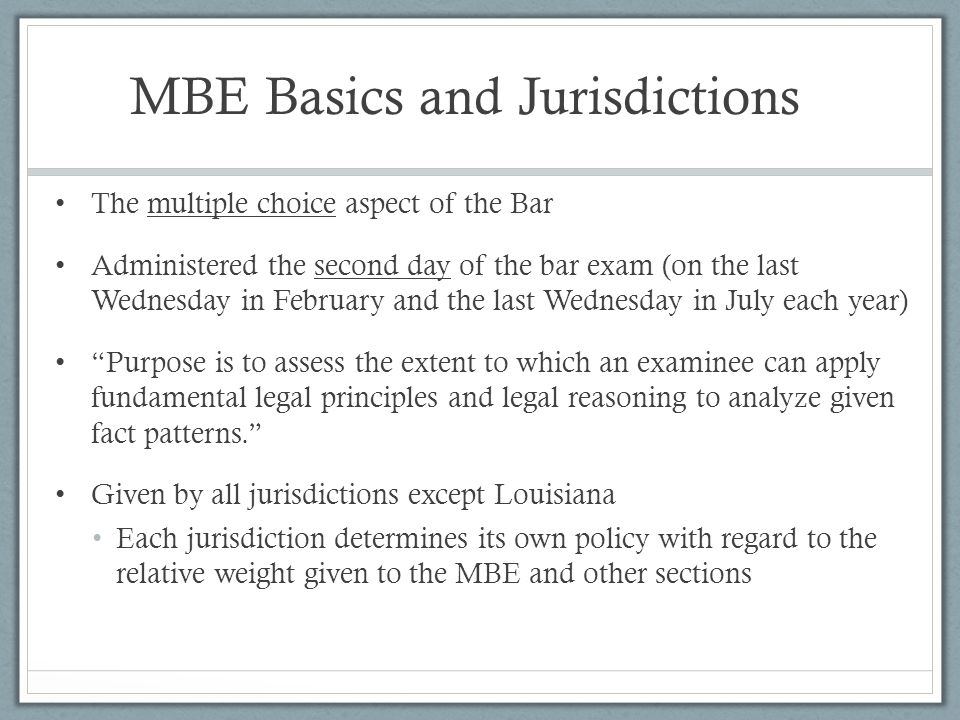 MBE Basics and Jurisdictions