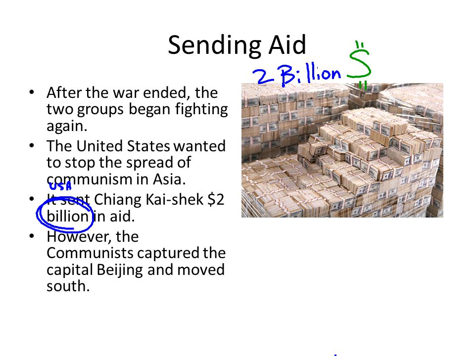 Sending Aid After the war ended, the two groups began fighting again.