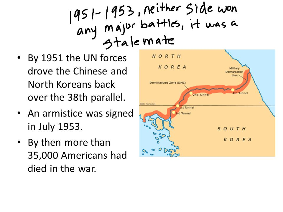 By 1951 the UN forces drove the Chinese and North Koreans back over the 38th parallel.