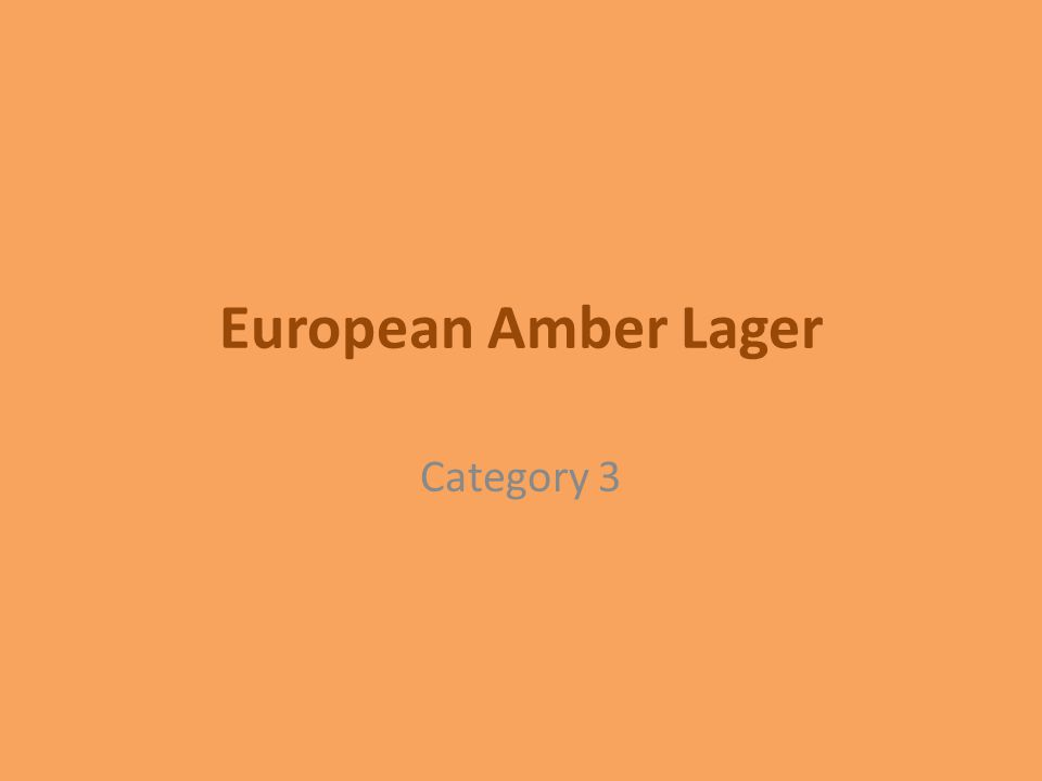 European Amber Lager Category 3