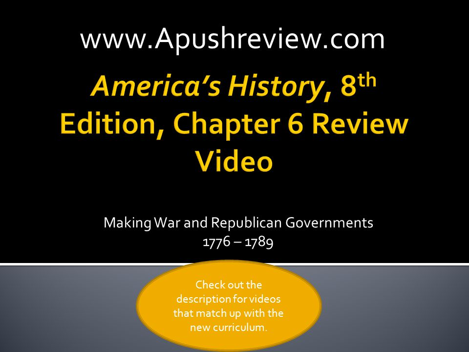 America's History, 8th Edition, Chapter 6 Review Video