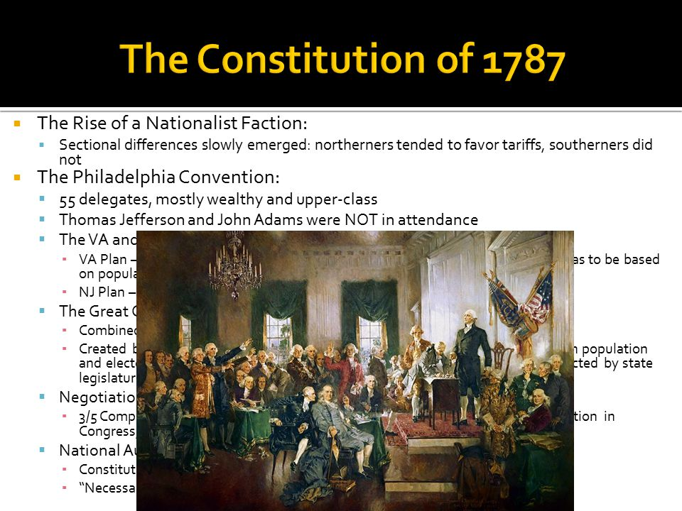 The Constitution of 1787 The Rise of a Nationalist Faction: