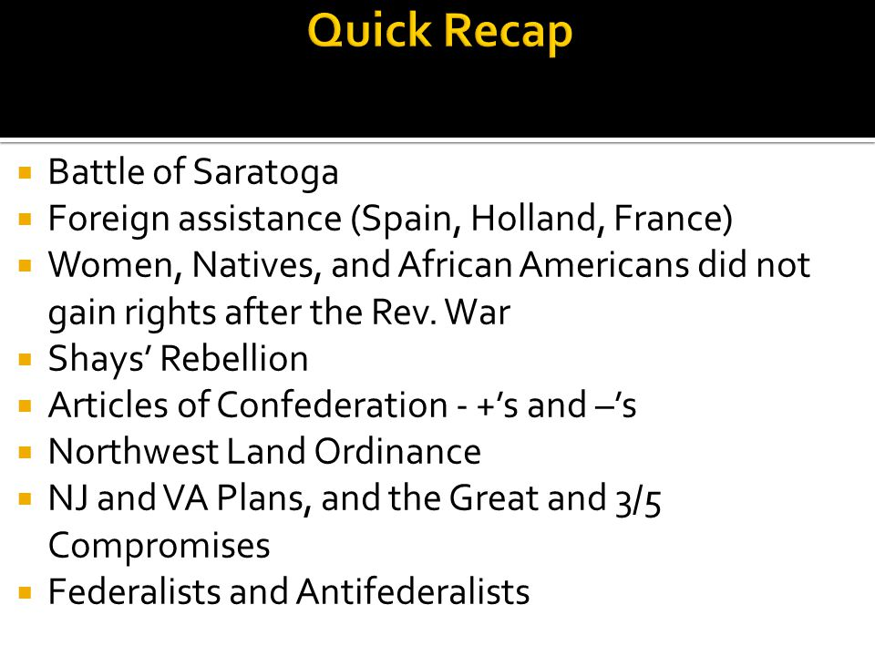 Quick Recap Battle of Saratoga