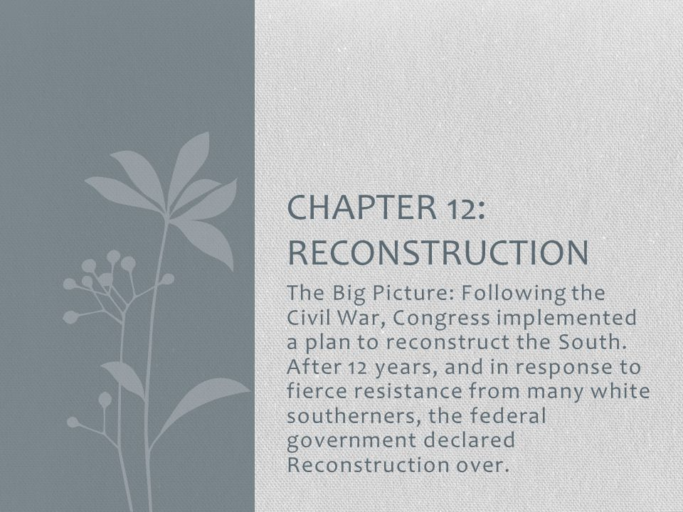 Chapter 12: Reconstruction