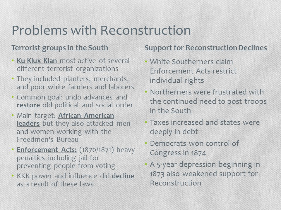 Problems with Reconstruction