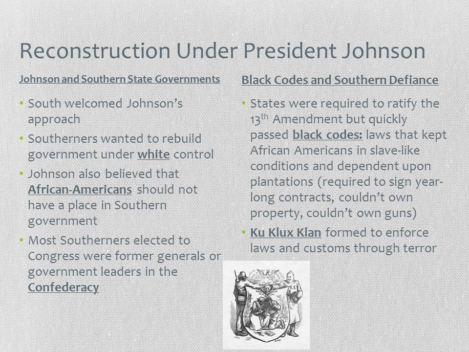 Reconstruction Under President Johnson