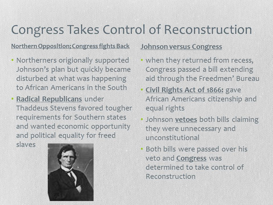 Congress Takes Control of Reconstruction